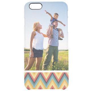 Custom Photo Zig Zag Striped Background 2 Clear iPhone 6 Plus Case