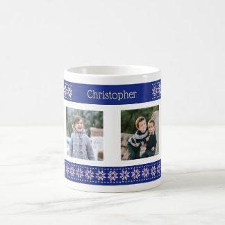 Custom photos and name christmas pattern coffee mug