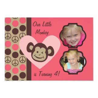 Custom Photos Girls Peace Monkey Birthday Invites