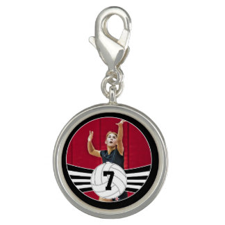 Custom Picture and Jersey Number Volleyball Charm