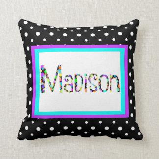 Custom Pillow, Gumball Name, aqua/purple/B&W spots Cushion