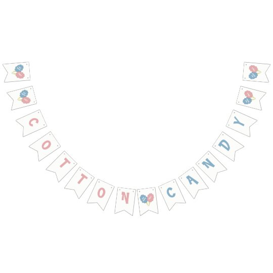 Custom Pink And Blue Cotton Candy Sign Bunting