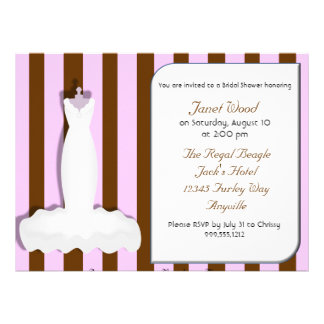 Custom Pink and Brown Bridal Shower Invitations