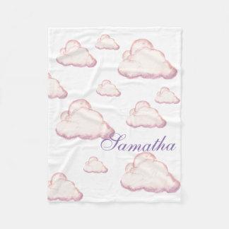 Custom pink and Purple Watercolor clouds Fleece Blanket