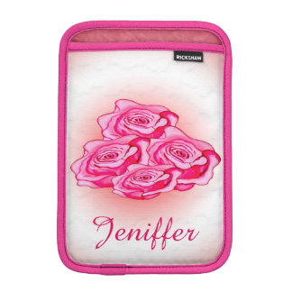 Custom pink and red bouquet of roses iPad mini sleeves