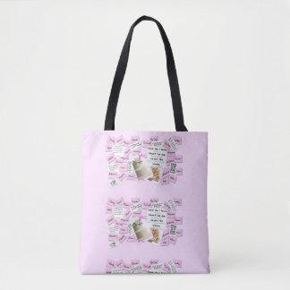 Custom Pink and White Wedding Tote Bag