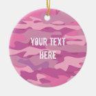 Custom pink army camo photo Christmas tree Ceramic Ornament