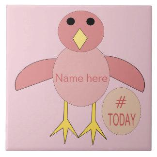 Custom Pink Birthday Chick Bear Tile