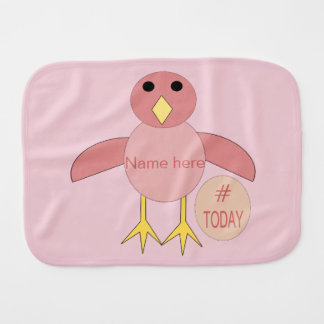 Custom Pink Birthday Girl Chick Burp Cloth