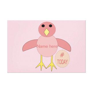 Custom Pink Birthday Girl Chick Canvas Print