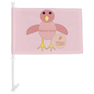 Custom Pink Birthday Girl Chick Car Flag