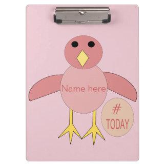 Custom Pink Birthday Girl Chick Clipboard