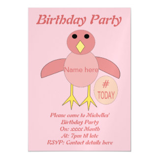 Custom Pink Birthday Girl Chick Party Invites Magnetic Invitations
