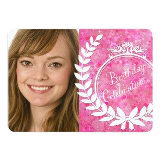 Custom Pink Bokeh Photo Birthday Invite