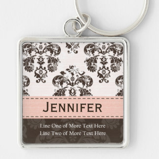 Custom Pink Brown Damask Photo Keychain Keyring