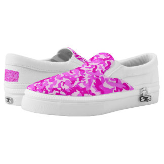 Custom Pink camo Zipz Slip On Shoes, Women Printed Shoes