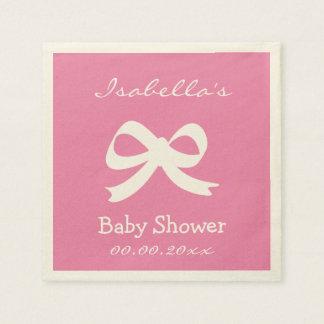 Custom pink ecru baby shower napkins for girl disposable napkin