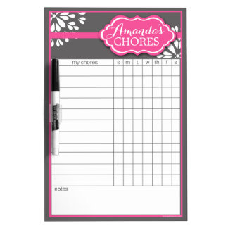 Custom Pink Flower Chore Chart Dry Erase Board