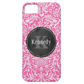 Custom Pink Flower Damask Chalkboard Monogram Case For The iPhone 5