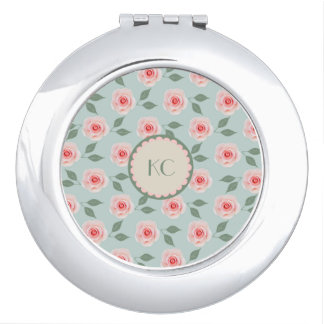 Custom Pink Flower Pattern Compact Mirror