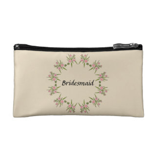 Custom Pink Flowers Bridesmaid Cosmetics Bag