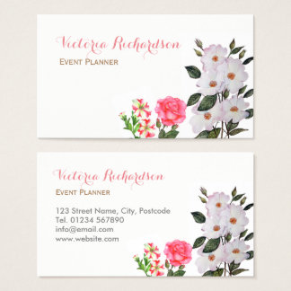 Custom Pink Flowers Floral Art Business Card