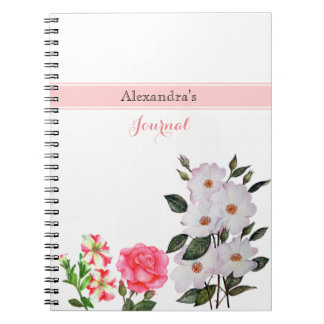Custom Pink Flowers Floral Art Notebooks