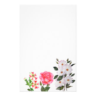 Custom Pink Flowers Floral Art Stationery