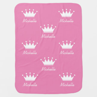 Custom pink girls baby blanket with princess crown