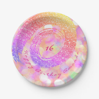 Custom Pink Glitter Rainbow Gold Spiral Glitter Paper Plate