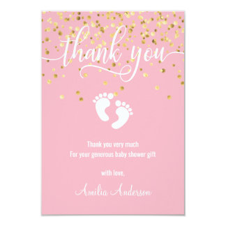 Custom Pink Gold THANK YOU Baby Shower Girl Card