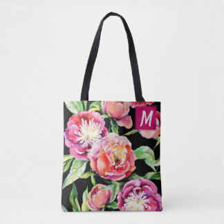Custom Pink Peonies Watercolor Tote Bag