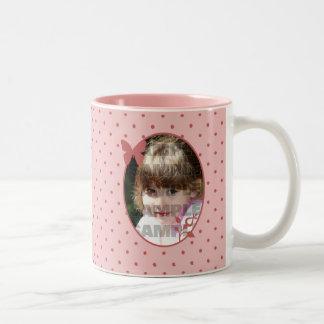 Custom Pink Photo Template Two-Tone Coffee Mug