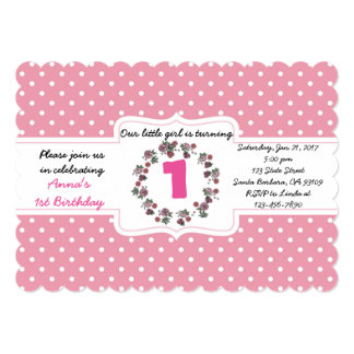 Custom Pink Polka Dot 1st Birthday Invitation Card