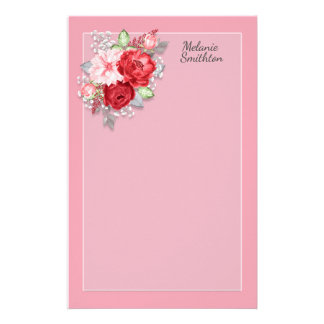 Custom Pink Red Watercolor Floral Gray Leaves Stationery