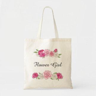 Custom Pink Rose Chic Flower Girl Tote Bag
