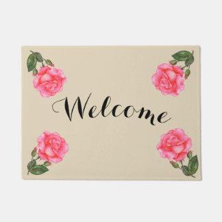 Custom Pink Rose Vintage Welcome Doormat