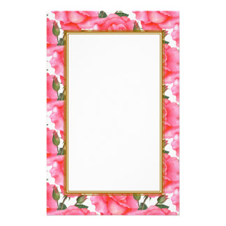 Custom Pink Roses Floral Art Stationery