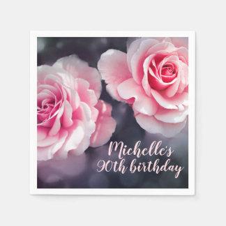 Custom Pink Roses Floral Photo Birthday Disposable Napkin