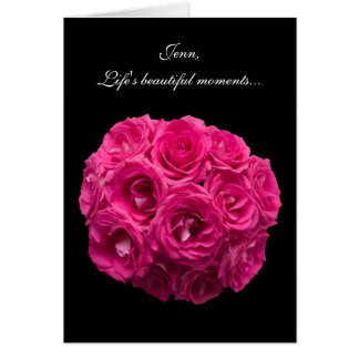 Custom Pink Roses Matron of Honor Card