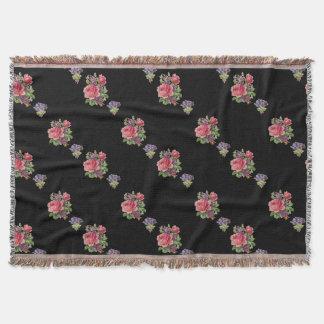 Custom Pink Roses, Purple violets Black blanket