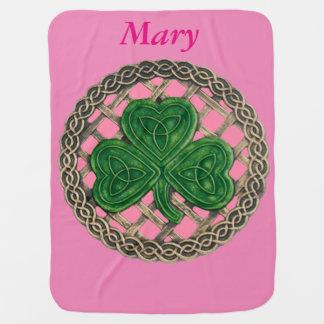 Custom Pink Shamrock On Celtic Knots Baby Blanket