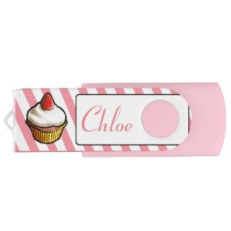 Custom Pink Strawberry Cupcake Stripe Flash Drive Swivel USB 2.0 Flash Drive