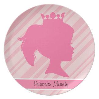 Custom Pink Stripe Princess Silhouette Kids Plate