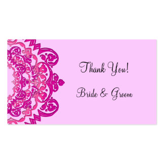 Custom Pink Vintage Floral Thank You Template Pack Of Standard Business Cards