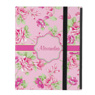 Custom Pink & Violet Red Roses on pink name iPad Folio Case