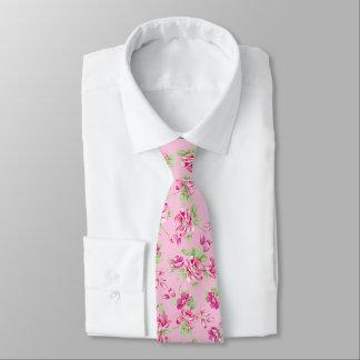 Custom Pink & Violet Red Roses on pink Tie