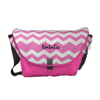 Custom Pink/White  Chevron Stripe Rickshaw Bag Courier Bag