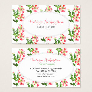 Custom Pink & White Petunias Floral Art White Oval Business Card