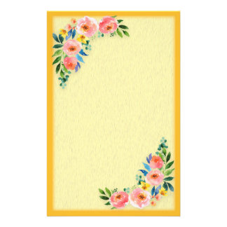 Custom Pink Yellow Floral Bouquet on Orange Yellow Stationery